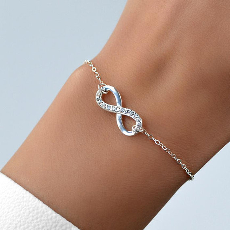 Sparkling Crystal Infinity Bracelets For Women Dainty Jewelry Stainless Steel Couple Bracelet Femme Bijoux Bridesmaid Gift BFF