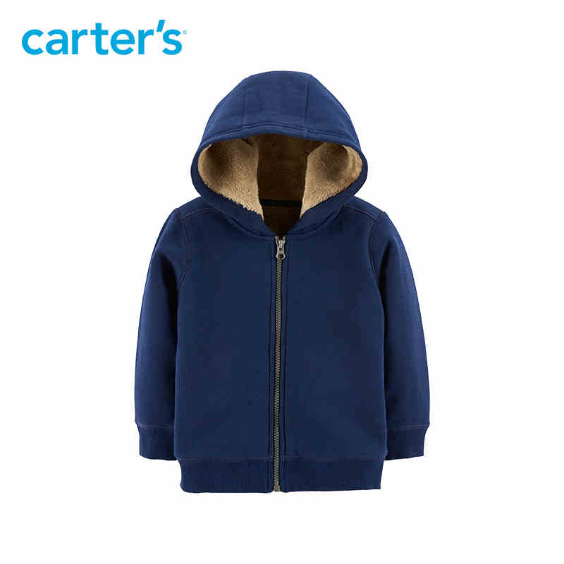 Carter's zip up fuzzy lined hoodie blue long sleeve hooded autumn winter jacket for boy warm kid clothing 243I113 appliques raglan sleeve zip up jacket