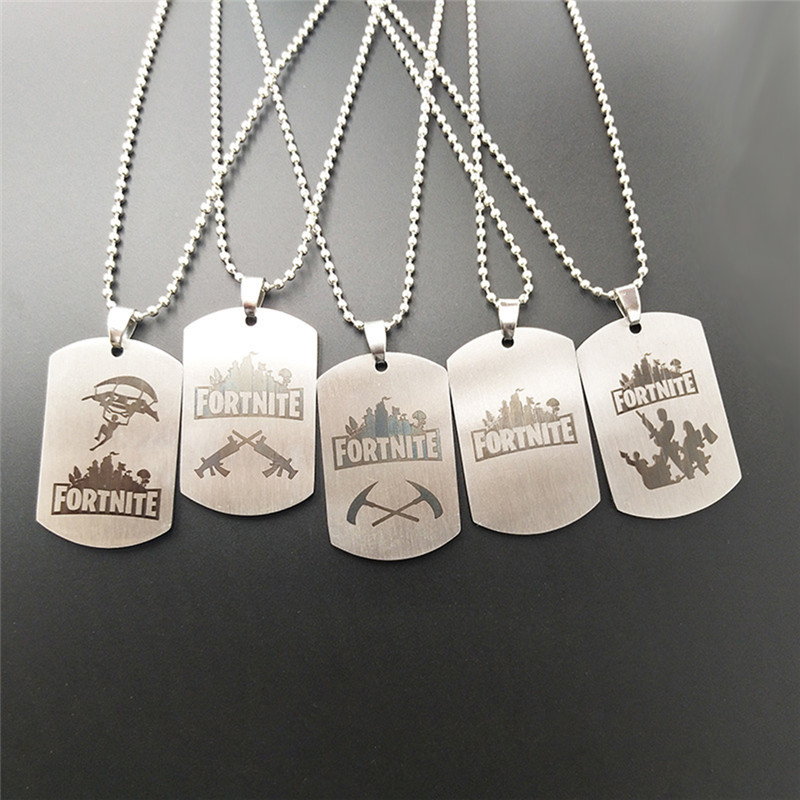 Hot&Classic FPS Game Fortnite Logo Necklace Stainless Steel Pendant Laser Print Personalized Jewelry Do not fade 5 Style X7-M2