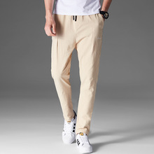 2019 new men's pants youth solid color cotton and linen casual pants male Korean version of the slim feet pants trend 5 colors