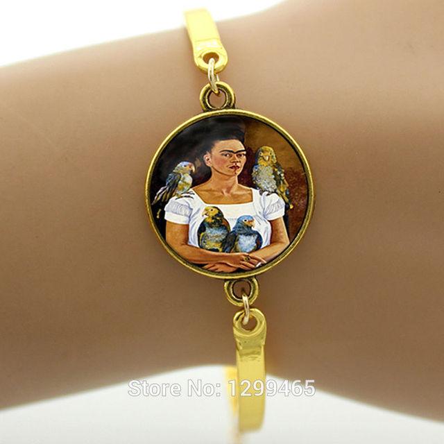 Jiayiqi Womens Fashion Frida Kahlo Glass Pendant Necklace Chain Bronze Color Gp613bEg