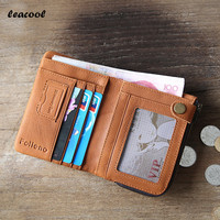 Leacool 2017 Vegetable Tanned Genuine Cowhide Leather Men Wallet Short Card Holder Small Vintage Wallet Brand
