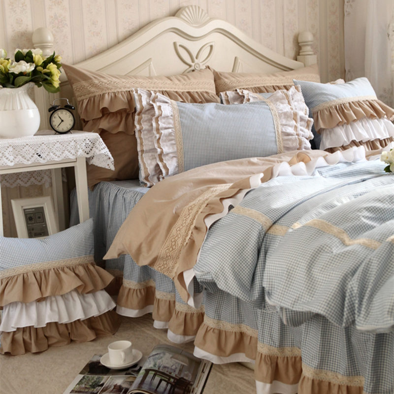 New classic blue lace bedding set flounces lattice block process princess bedding ruffle duvet cover bedskirt