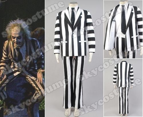 Beetlejuice Suit Halloween Cosplay Costume Blazer Pants font b Shirt b font Tie Full Set For