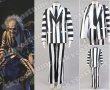 Beetlejuice Suit Halloween Cosplay Costume Blazer Pants Shirt Tie Full Set For Adult Men