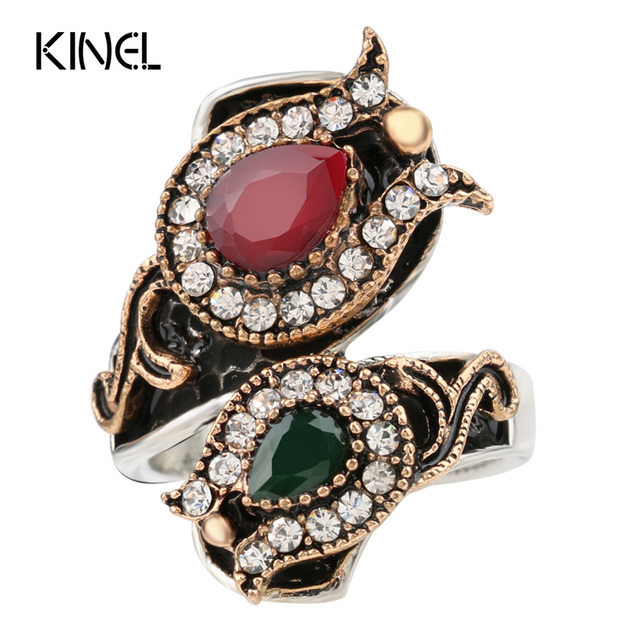 From India Vintage Wedding Rings For Women Color Antique Gold Unique