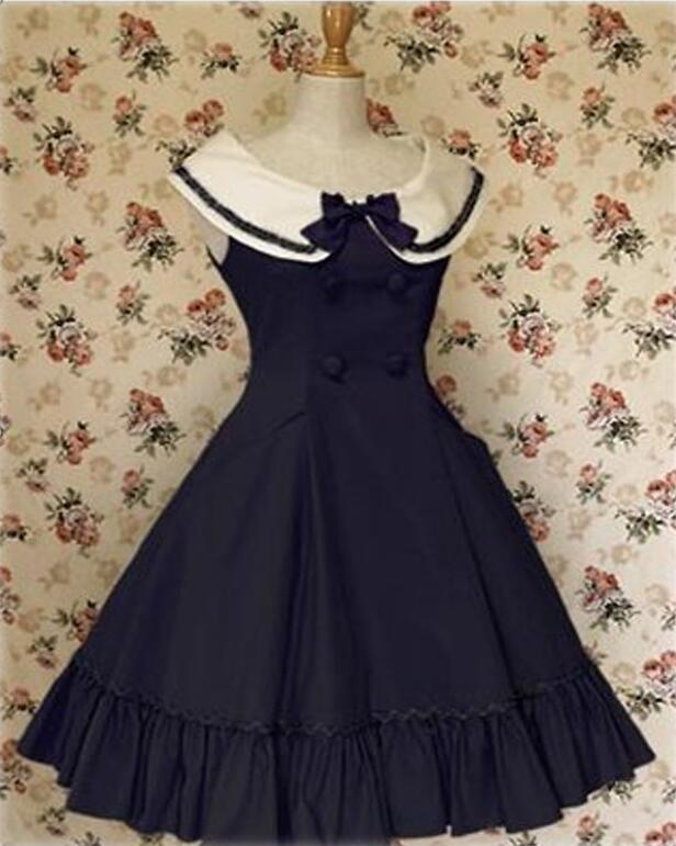 Lolita Preppy Style Dresses Princess Dress Lolita Sailor Costume Sleeveless Navy Style Cosplay Dress Free Shipping ems dhl free shipping toddler little girl s 2017 princess ruffles layers sleeveless lace dress summer style suspender