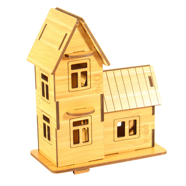 Wooden Cabin Small Farmhouse Amorous Feelings Of The World European Building 3D Puzzle Stalls Selling Gifts