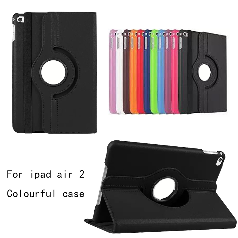 For iPad Air 2 Leather Case 360 degrees flip leather back cover case For apple ipad air2 Smart Cover for Ipad 6 Tablet case 360 degrees rotating pu leather cover case for apple ipad 2 3 4 case stand holder cases smart tablet cover a1395 a1396 a1430