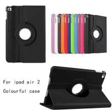 Para ipad air 2 leather case 360 grados flip cuero de la cubierta case para apple ipad air2 smart cover para ipad 6 tablet case