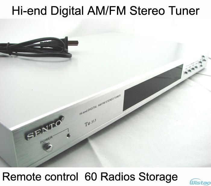 Hi-end Digital Stereo AM/FM Tuner 60 Radio Storage Remote Control Silver 76 108mhz digital lcd fm radio stereo receiver module 5w amplifier remote control with memory function