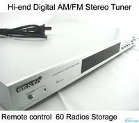 Hi end Digital Stereo AM/FM Tuner 60 Radio Storage Remote Control Silver