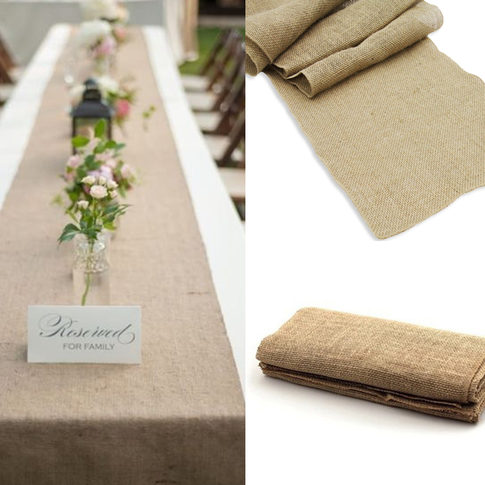 ⓪10pcs 30x275cm Vintage Burlap Hessian Table Runner Natural Jute ...