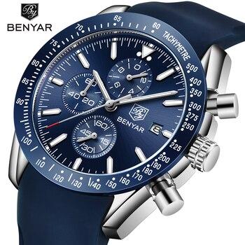 Силиконовые часы с хронографом мужские Benyar лучший бренд Роскошные спортивные наручные Мужские часы Мужские кварцевые часы relogio masculino saat >> BENYAR Official Store