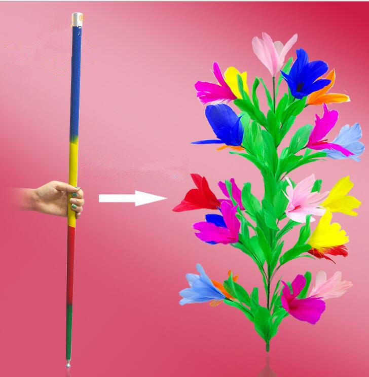 Steel Magic Vanishing Cane To Flower (21 Flower) - Magic Tricks, Cane To Flower,Stage Magic,Close Up,Comedy,Magician Wand Metal