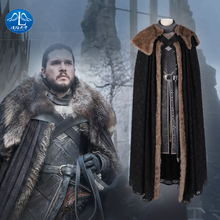Manluyunxiao Game of Thrones Flocking Cloak Cosplay Costumes  Jon Snow Outfit with Coat Halloween Clothing Ault Men