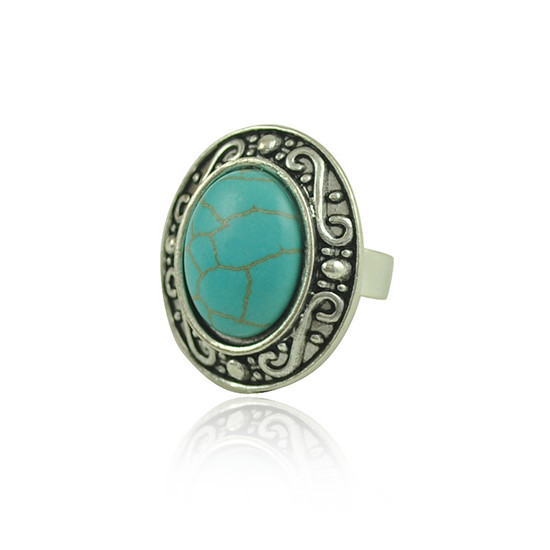 H:HYDE Fashion Jewelry Vintage Look Tibetan Alloy Antique Silver Color Carving Personality Green Round Natural Stone Ring