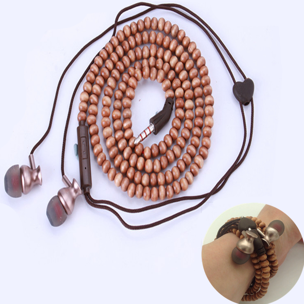 2017 Fashion Bracelet Earphone Wooden Beads Stereo in-ear Earbuds Noise Canceling With Microphone for Mobile Phone Mp3 Gifts cbaooo stereo earphone wired in ear headset ear hook earbuds headphone with microphone noise canceling earphones for phone pc