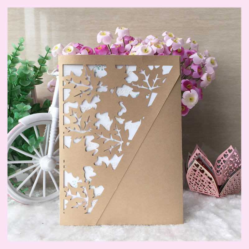 12pcs/lot 2017 Wedding Invitations Card Maple Leaf Delicate Design ...