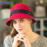 Winter/Autumn Warm Basin Cap Soft Wool Felt Bowler Floppy Hat Metal Ring Fedora British Outdoor Cap For Fashion Female
