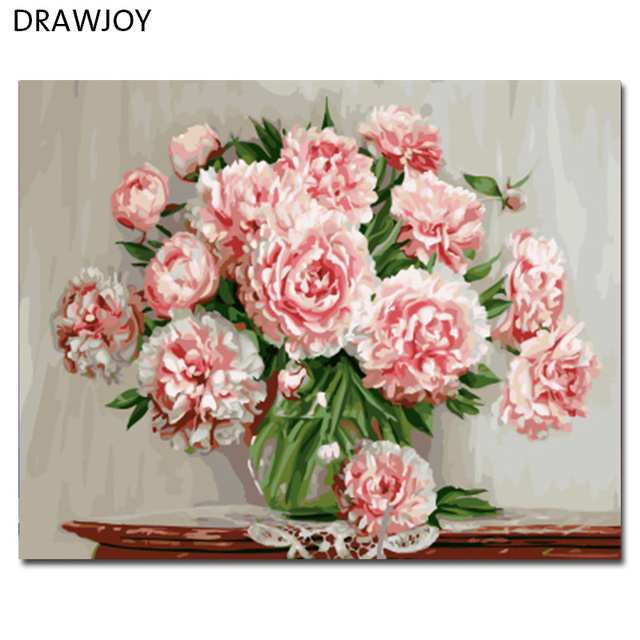 DRAWJOY Framed Picture Painting By Numbers Modern Flower Home Decor ...