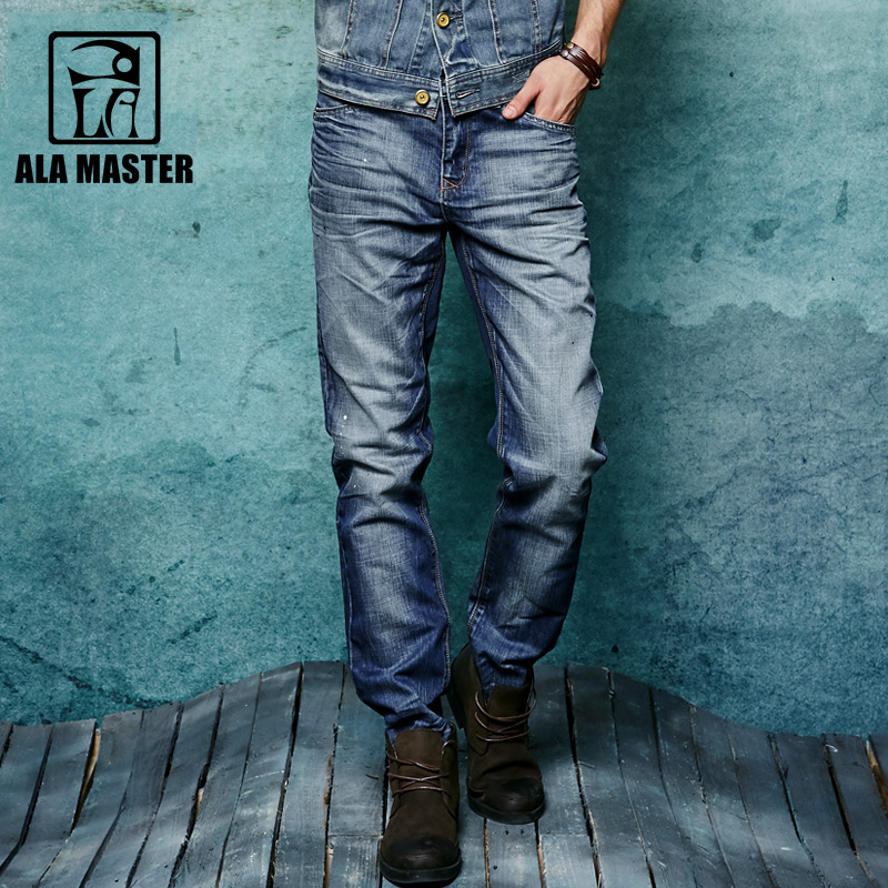 A LA MASTER Slim Denim Jeans 100% Cotton Casual Straight Splash ink Jeans Men Spring Autumn Pleated Soft Male Jeans