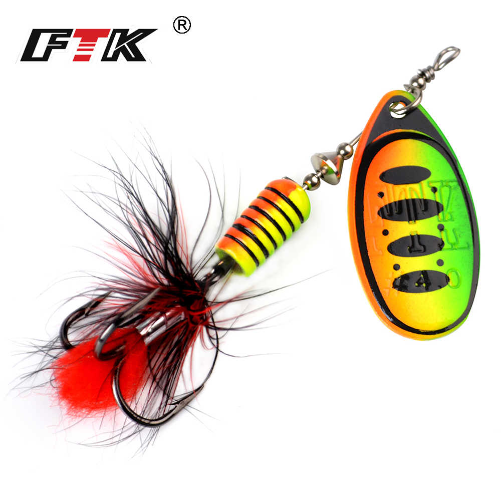 FTK-leurre métallique rigide de type cuillère avec hameçons triples et plumes, appât artificiel idéal pour la pêche au bar ou au brochet, 7.5/12/17.5g, 1 unité