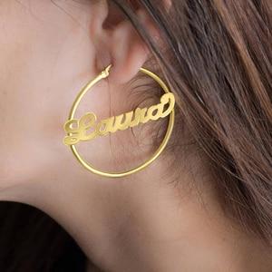 Image 5 - 70 MM Große Creolen Für Frauen Personalized Name Kunden Schmuck Edelstahl Rose Gold Ohrringe Mode Schmuck 2018 Brinco