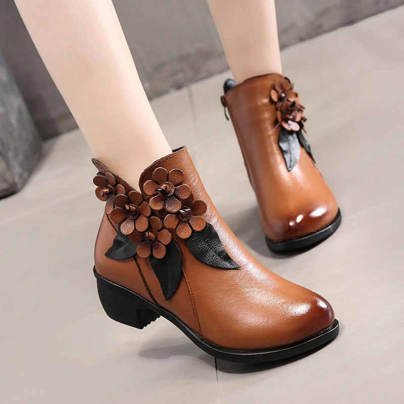 2019 ฤดูหนาวรองเท้าผู้หญิงรองเท้าหนังแท้รองเท้าส้นสูงรองเท้ารอบ Toe รองเท้าแฟชั่นรองเท้าบูทข้อเท้าสำหรับผู้หญิง
