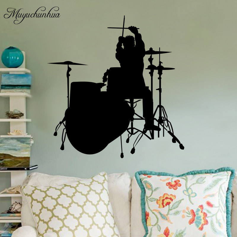Muyuchunhua Drum Beating Music Wall Sticker for Kids Room Bedroom Home Deocr Wall Art Decal Mural Decorative Stikcers ...