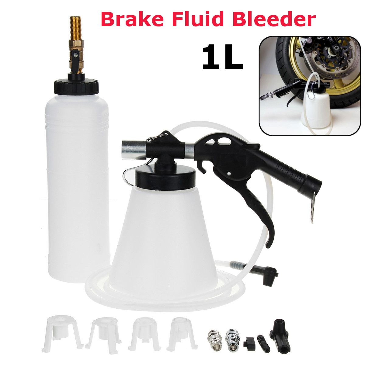 1l Air Brake Fluid Bleeder Kit Clutch Bleeding Extractor Fill Bottle 4 Adapters Fit For Most Vehicle Clean And Efficient Sales Of Quality Assurance Tire Accessories