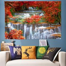 Psychedelic Tapestry Forest Wall Hanging 3D Waterfall Scenery Decoration Bohemian Hippie Large 170x240cm