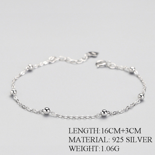 925 Sterling Silver Bead Bracelet For Women Charm Metal Chain