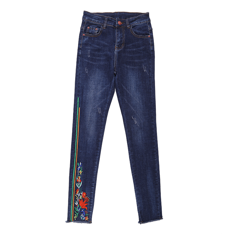 Plus Size 26-32 Women Stretch Slim Jeans 2017 New Ladies Floral Embroidered High Waist Pencil Denim Pants Femme Trousers L1193 plus size pants the spring new jeans pants suspenders ladies denim trousers elastic braces bib overalls for women dungarees
