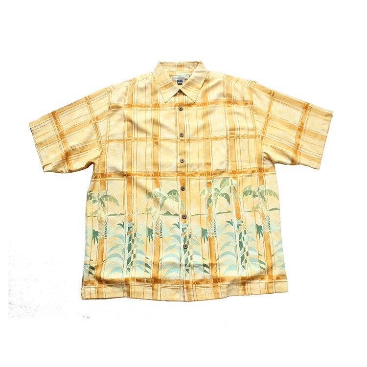 hawaii print silk short sleeve shirts big size mens clothes camisa large size