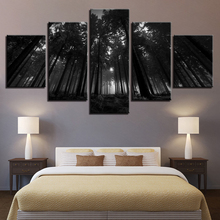 Canvas Pictures Framework Home Decor For Living Room HD Prints Poster 5  Pieces Black Forest Trees