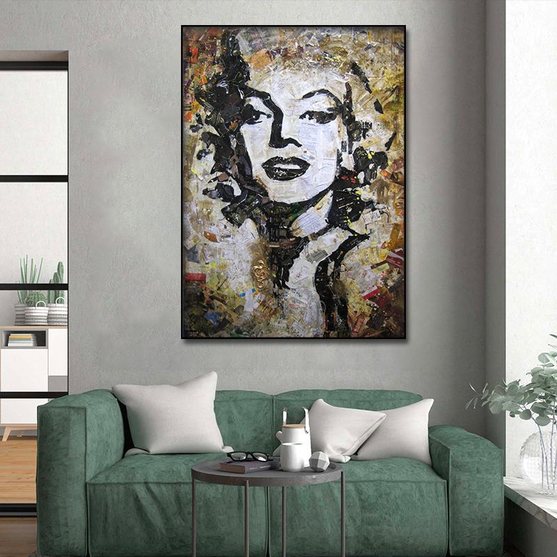 Canvas art print Vintage Marilyn Monroe oil painting Poster Pictures Wall Art Frame Artwork Oil Painting for Room Decor