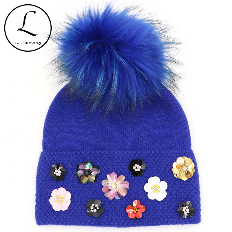 Flower Winter Hats For Women 2017 Ladies Winter Hat With Flower Cool Knitted Wool Beanie Womens Beanie Real Raccoon Fur Pompom 2015 brand winter woman s knitted beanie thick wool ladies knitted hats caps with genuine raccoon fur pompom hat for women w732