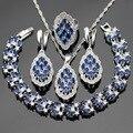 Azul Criado Sapphire Pedras Cor Prata Conjuntos De Jóias de Noiva Para Mulheres Colar Pingente Pulseiras Brincos Anéis Caixa de Presente Livre