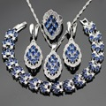 Blue Created Sapphire Stones Silver Color Bridal Jewelry Sets For Women Necklace Pendant Bracelets Earrings Rings Free Gift Box