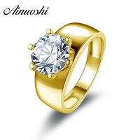AINUOSHI 10 k Rắn Yellow Gold Nhẫn Cưới Wide Bridal Engagement Bijoux Femme 2.65 ct Solitaire Simulated Kim Cương Phụ Nữ Nhẫn