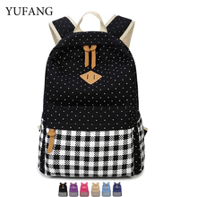 2017 YUFANG Brand Canvas Bag Backpack School For Teenager Girl Laptop 13 14 15 Inch Printing Backpacks Women Casual Rucksack