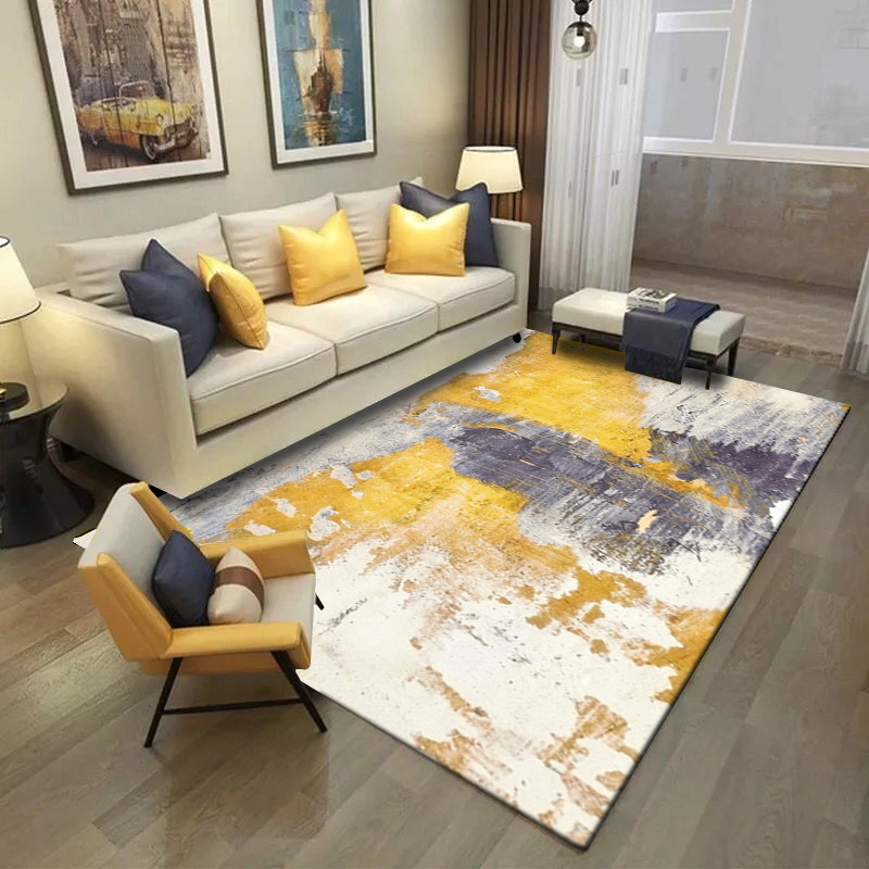 Modern Fashion Abstract Artistic Oil Paint Print Bedroom Living Room Parlor Area Rug Carpet Doormat Kitchen/Footmat Yellow Gray
