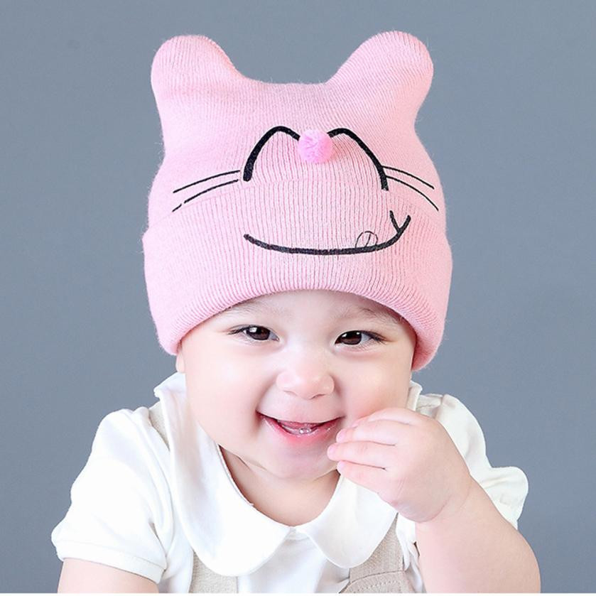 Cute Cartoon Baby Beanie For Boys Girls Cat Cotton blended Hat Children Print Hats for 1-3 Years newborn photography props