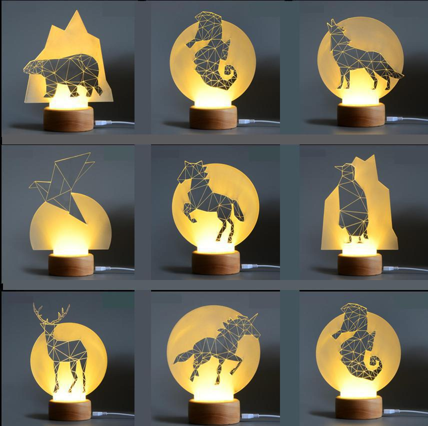 Cheap Price Woody Creative Wood 3d Lamp Waste Land Series Lighting Table Lamp Christmas Gift Children's Toys Christmas Decorative Lights