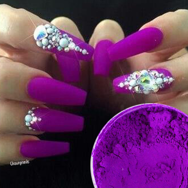 1pcs Fluorescent Nail Glitter Purple Nail Art Chrome Pigment Neon ...