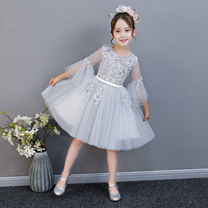 2018 Summer Spring New Children Kids Birthday Evening Party Princess Lace Dress Baby Girls Tutu Host Costume Prom Dress 3~13yrs new summer costume girls princess dress children s evening clothing kids chiffon lace dresses baby girl party pearl dress