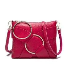 2016หนังแท้แหวนเพชรซิปออกแบบผู้หญิงของMessenger C Rossbodyกระเป๋าซองคลัทช์กระเป๋าไหล่เดี่ยวกระเป๋า