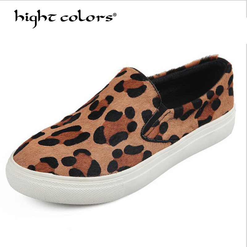 Lady Plus size 35~40 Spring 2018 Casual Flats Leopard Horsehair leather Round toe Women Flat Platform Slip-On Shoes L808 newest lady spring autumn shoes slip on lady soft leather flat platform fashion casual shoes women round toe loafers size 34 43