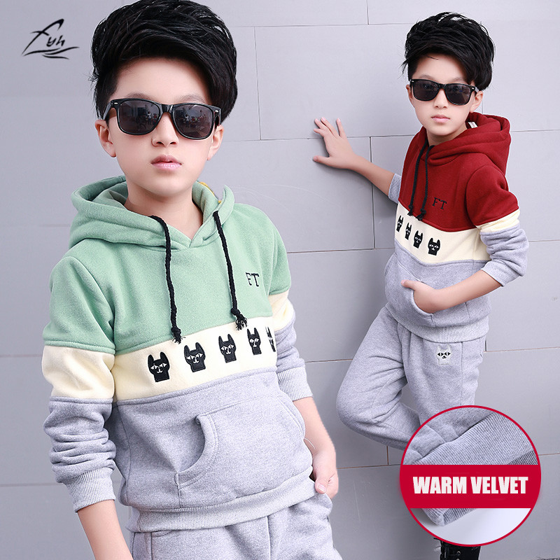 FYH Kids Clothes Winter Boys Clothing Set Warm Velvet Suit Two-pieces Hooded Sweatshirt+Pants Children Costumes Sports Tracksuit 2016 new fashion autumn winter boy two pieces suit thicken children tops pants suit leisure hooded kids clothes hl0856